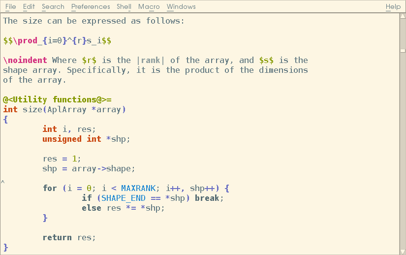 Screenshot of NEdit's Syntax Highlighting